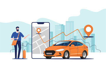 Online ordering taxi car, rent and sharing using service mobile application. Man near smartphone screen with route and points location on a city map on the car and urban landscape background. Fototapete