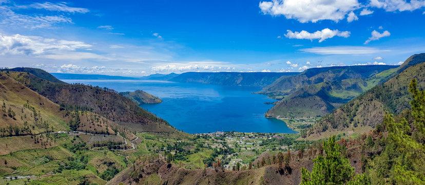 Beautiful view of Danau Toba or Lake Toba at Sumatera Utara, Indonesia