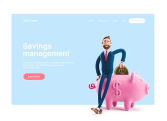 3d illustration. Portrait of a handsome businessman with piggy bank. Safe money storage concept. Web banner, start site page, infographics.