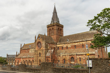 Wall Mural - Saint Magnus Cathedral in Kirkwall in the Orkney Islands of Scotland.