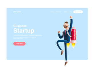 3d illustration. Businessman Billy flying on a rocket Jetpack up. Concept of  business startup, launching of a new company. Web banner, start site page, infographics, concept.