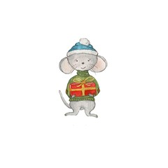 New Year's mouse with a gift drawn by hand in watercolor paints. A cute little mouse is perfect for decorating New Year's printing and design