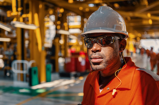 Close up view of employee in FPSO vessel