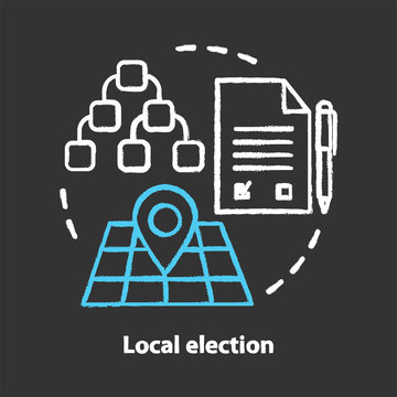 Elections chalk concept icon. Local election idea. Electorate voting, choosing from political candidates, parties. Mayor, council voting day. Vector isolated chalkboard illustration
