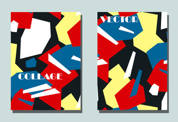 Trendy cover with graphic elements - abstract shapes. Two modern vector flyers in avant-garde  style. Geometric wallpaper for business brochure, cover design.