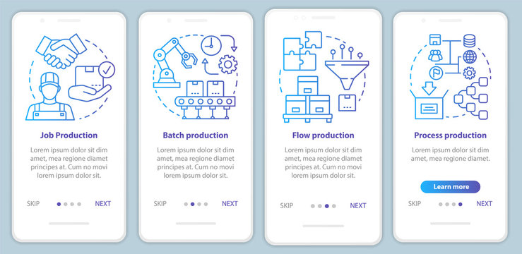 Manufacturing method blue onboarding mobile app page screen vector template. Job, batch, flow, process production. Walkthrough website steps with linear icons. UX, UI, GUI smartphone interface concept