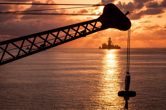 Close up view of crane during sunset