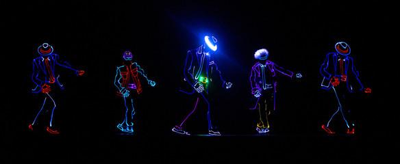 Neon Glow dancers. Entertainment. illutration. Led suits