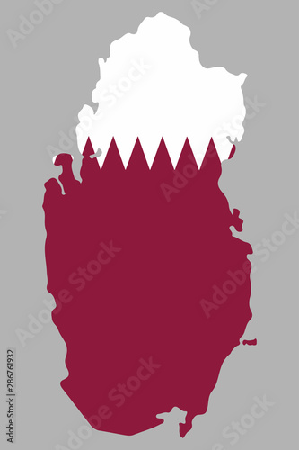 Qatar, map with flag Vector illustration\