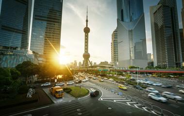 Fotomurales - sunset in Shanghai lujiazui financial center, China