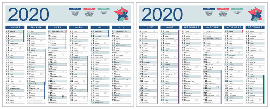 CALENDRIER 2020 modifiable (base pour 265x210mm R-V) lunes, fêtes, fériés, vac,… typo arial narrow vectorisé et non vecto., 21 calques