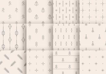 Minimalist Winter Holiday Pattern Layout Set