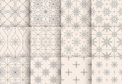 Minimalist Crystal Snowflake Pattern Layout Set