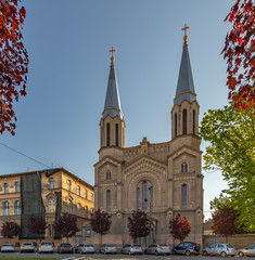 The Notre Dame Church in Timisoara (Romania, Europe) was built between 1893 and 1894 in eclectic historicist style. Presently, the edifice serves the community of Catholic Bulgarians of Banat.