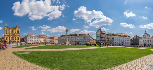 Panoramic View of the Union Square in Timisoara. Romania during in Summer