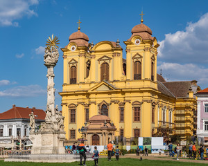 The imposing Roman Catholic Cathedral represents the baroque style located in Union Square, the oldest square in Timisoara. It is surrounded by imposing 18th and 19th Centuries historic buildings.