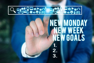 Word writing text New Monday New Week New Goals. Business photo showcasing showcasing next week resolutions To do list Male human wear formal work suit presenting presentation using smart device
