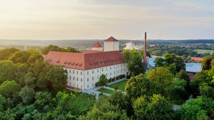 aerial view of the oldest beer brewery in the world, Weihenstephan, Freising, Bavaria, Germany