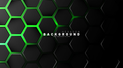 Abstract black hexagon pattern on green neon background technology style. Honeycomb. Vector illustration Wall mural
