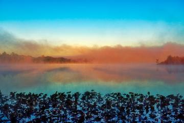 Fototapeta Fog on the Lake at Sunrise