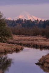 Snowpacked Mount Hood in Fall/Winter sunset