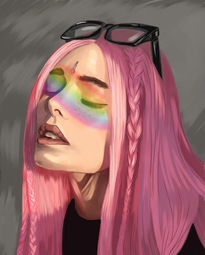 An illustration on the LGBT communities theme of a beautiful girl with pink hair and a rainbow