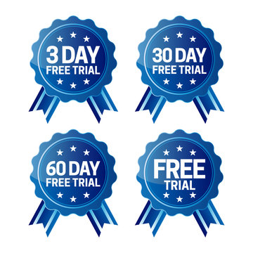 3, 30 and 60 Days Free Trial Badge Symbol Set