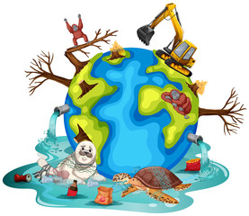 Poster Castle Plants and animals on earth getting sick