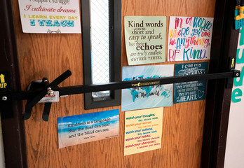 A door blockading device is seen across a classroom door at Pinnacle Charter School during TAC*ONE training for an active shooter situation in a school in Thornton