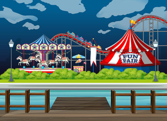 Poster Kids Scene background design with rides at the circus