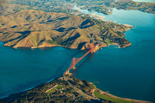 Aerial view of the Golden Gate Bridge in San Francisco with Sausalito in the background