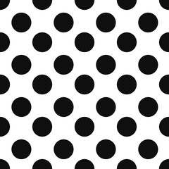 Abstract fashion black and white Big Polka Dot seamless pattern texture.
