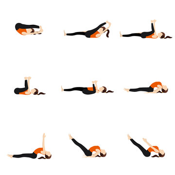 Spinal and legs extension lying poses set/ Illustration stylized woman practicing lying yoga postures