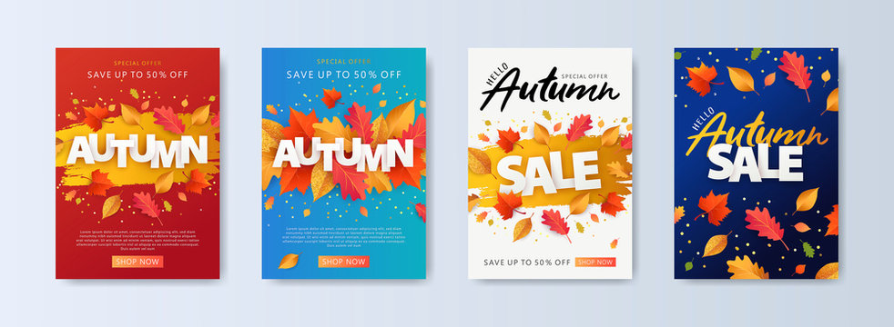 Autumn Sale background, banner, or flyer design. Set of colorful autumn posters with bright beautiful leaves frame, paper cut style letters and lettering. Template for advertising, web, social media