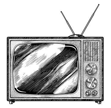 Retro television illustration, drawing, engraving, ink, line art, vector