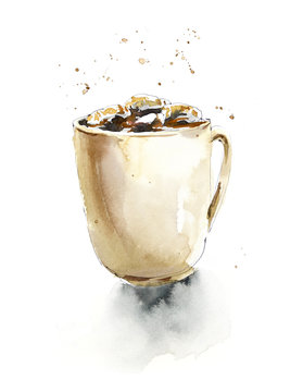 Cup of hot chocolate and marshmallow. Watercolor hand painted illustration.