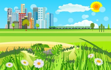 Urban industrial city landscape. Big modern citywith skyscrapers in countryside landscape with mountains and country houses vector flat style.