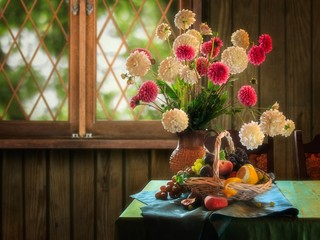 Still life with splendid Autumn bouquet of flowers