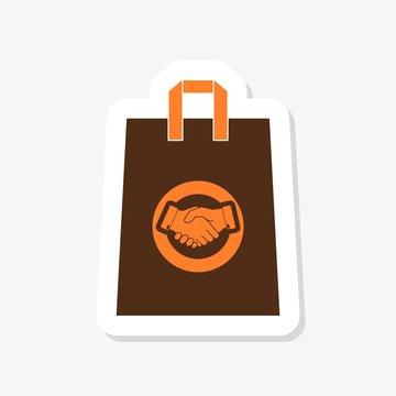 Shopping bag sticker icon isolated on white background.