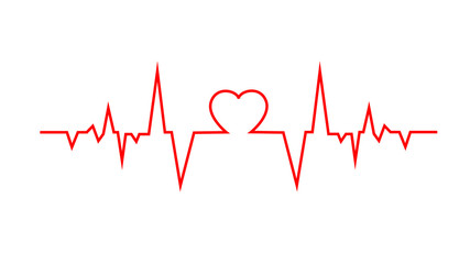 Heart pulse. Red and green colors. Heartbeat lone, cardiogram Fototapete