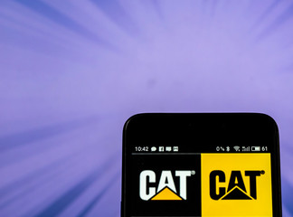 Kiev, Ukraine, September 13, 2018, illustrative editorial. Caterpillar Inc. logo on a smart phone