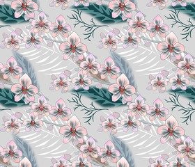 Seamless tropical floral pattern.Pink, white orchids, palm leaves on a gray background.