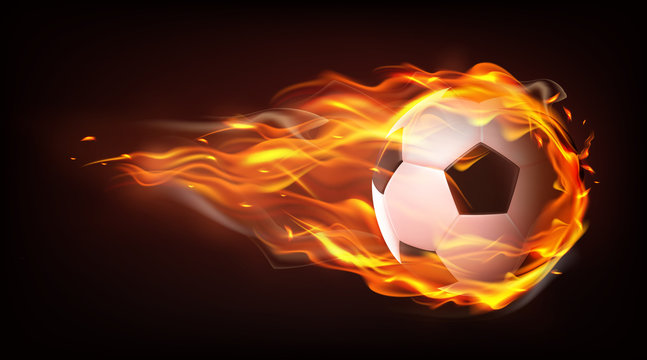 Football ball flying engulfed in flames, firing in darkness after powerful strike 3d realistic vector isolated on black background. Soccer championship, sport competition announcement design element