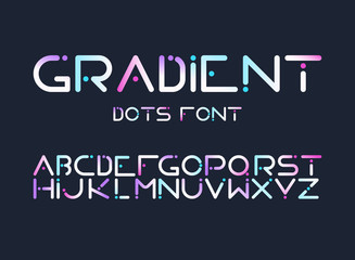 English ABC, full latin alphabet with futuristic, cyberpunk looking, digital, rounded shape with dots in gradient blue, pink and violet colors letters isolated flat vector illustrations collection