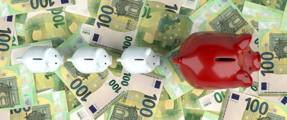 Piggy Banks Euro Banknotes