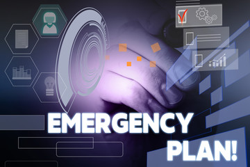 Text sign showing Emergency Plan. Business photo showcasing actions developed to mitigate damage of potential events Male human wear formal work suit presenting presentation using smart device