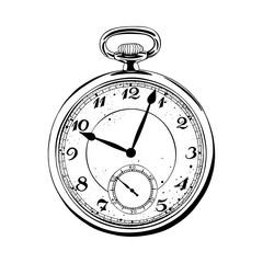 Pocket watch. Hand drawn vintage pocket watch illustrations.