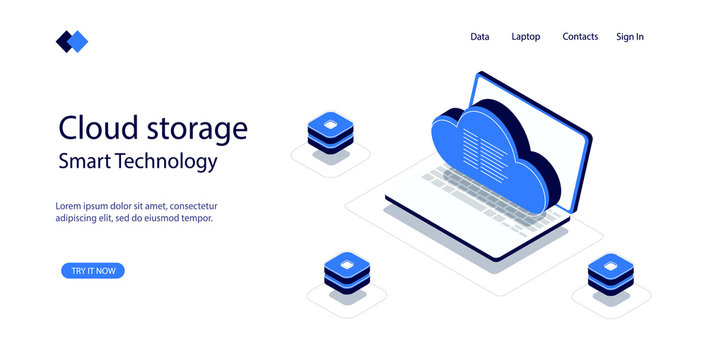 Isometric image concept cloud storage, transfer data with help cloud, modern smart technology, laptop with geometric objects, digital service storage. Vector illustration on white isolated background.