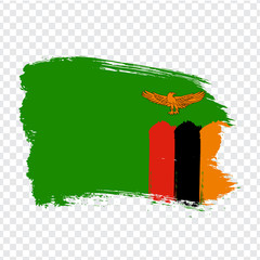 Flag Zambia from brush strokes. Flag Republic of Zambia on transparent background for your web site design, logo, app, UI. Stock vector.  EPS10.