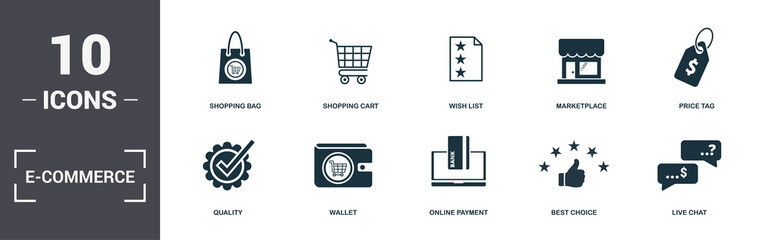 E-Commerce set icons collection. Includes simple elements such as Shopping Bag, Shopping Cart, Wish List, Marketplace, Price Tag, Wallet and Online Payment premium icons Wall mural